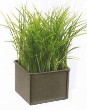 """ARRANGEMENT ARTIFICIAL GRASS IN OUTDOOR METAL POT 7"""" TALL PLANT FLORAL FLOWER"""