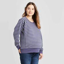 Isabel Maternity Striped Pullover Sweater Blue/Gardenia NWT $25 Size Medium