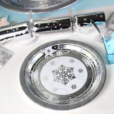 NATALE Stoviglie-SPUMANTE Snowflake METALLICA DESSERT PIASTRE-carta 18 cm
