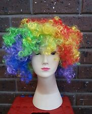 Rainbow Clown Wig Afro Circus Wigs Fancy Dress Costume