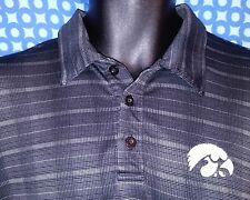 Iowa Hawkeyes Black Striped/Checked Polyester Under Armour Golf Polo EUC  Mens M