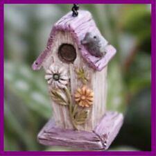 """Miniature Dollhouse Fairy Garden Daisy Bird House with 1"""" Chain Figurine"""