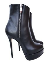 CQ COUTURE CUSTOM PLATFORM ANKLE ZIP BOOTS STIEFEL STIVALI LEATHER BLACK NERO 42