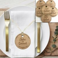 Personalised Wedding Favours Engraved Wood Place Setting Rustic Table Decoration