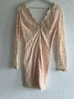 PEACH LACE BODYCON DRESS 10 PRETTY MISSGUIDED TOWIE FESTIVAL CELEB GLAM POSH NEW