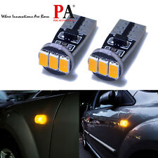 2x T10 5630 3 SMD Yellow Amber Side Marker Turn Signal Parking LED Light Bulb