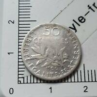 H13402 pièce de monnaie argent 50 centimes seumeuse 1900