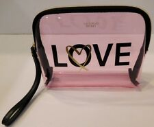 1 VICTORIA'S SECRET LOVE COLLECTION CLEAR WEDGE BEAUTY COSMETIC CASE BAG NEW
