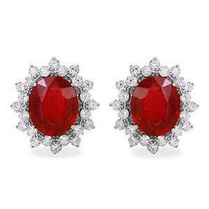11.03Ct  Ruby and Natural Diamond 14K Solid White Gold Earrings