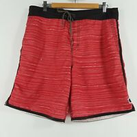 Quiksilver Mens Board Shorts Size 34 Swim Shorts Red White Striped