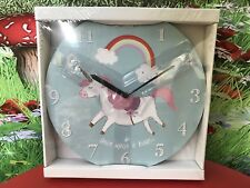 Rainbow unicorn nursery bedroom clock decor unicorns wall
