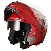 DOT Flip up Modular Full Face Motorcycle Helmet Dual Visor Race Motocross Red XL