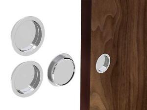 """Round"" Flush Recessed Sliding Door Handle Set - Chrome - Satin Nickel - Brass"