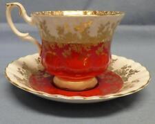 ROYAL ALBERT ENGLAND BONE CHINA#4396 SET CUP& SAUCER RED GOLD GILT VINTAGE