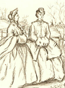 1866 Pen and Ink Drawing - A Hint to Young Ladies