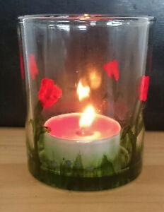 Handpainted Candle Holder Tealight Red Flowers Tulips Forget-me-nots Glass gift