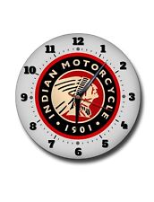 "INDIAN MOTORCYCLES 250MM CLOCK /10"" DIAMETER METAL WALL CLOCK.GARAGE,WORKSHOP."