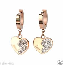 Rose Gold Round Hoop With Crystals Love Heart Stainless Steel Dangle Earrings