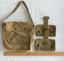 WW2 US Army Carry Bag Lightweight Service Khaki Canvas Gas Mask? Pouch Extras