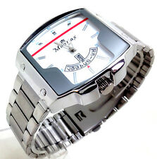 514R Men's New Fashion Wrist Watch Silver Strap Large Chunky Square White Dial