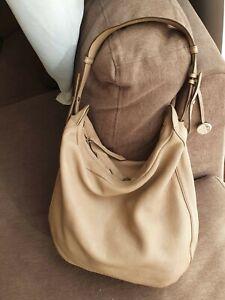 Furla Italy Authentic Large Beige Leather Bag Hobo Shoulder slouch Handbag tote
