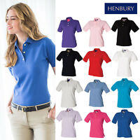 Henbury Women's Cotton Pique Polo Shirt H121-Ladies Short Sleeve Casual T-Shirt