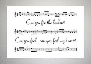 Bring Me The Horizon - Can You Feel My Heart - Song Sheet Print Poster Art
