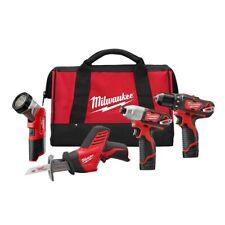 "Milwaukee 2498-24 M12 w/ 3/8""Drill-Driver, 1/4""Hex Impact, Hackzall & Flashlight"