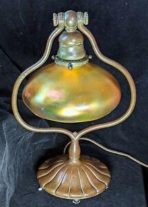Authentic Tiffany Studios Bronze Harp Lamp Art Nouveau Model 419 NO RESERVE!!