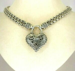 "Scott Kay Heart Pendant with Double Signature Chain in Sterling Silver 14"" long"