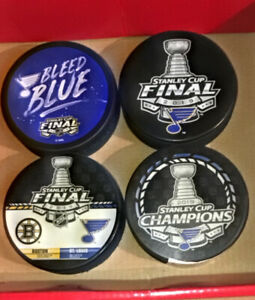 Lot of 4 2019 ST LOUIS BLUES STANLEY CUP Pucks w Limited Edition Exclusive Puck