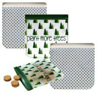 Ziparoos Reusable 4-Piece Snack Bags Eco-Friendly- Plant More Trees