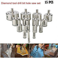 15 pcs set 6-50mm Diamond Hole Saw Tile Drill Bit Ceramic Glass Coated Marble AU