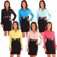 New Womens Long Sleeve2in1 Stripy Belted Office Wear Dress 8-14
