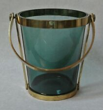 Vintage Mid Century Modern Peacock Blue Glass and Brass Metal Ice Bucket