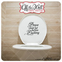"Bathroom Toilet ""Please close lid before Flushing"" Toilet Lid Decal Sticker #BL1"
