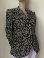 Blazer Jacke von Max Mara grau schwarz Jaquard Muster Schurwolle Mix 38 40