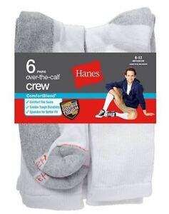 6-Pack Hanes Men's ComfortBlend Over-the-Calf Crew Socks - Black or White - 6-12