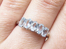 925 Silver over Brass - Oval Cut Blue Topaz 5-Stone Band Ring Sz 7.5 - RG1930