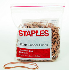 """Staples Rubber Bands Size #117B Office Supplies 7"""" Long and 1/8"""" Thick (1 Lb)"""