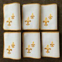 6 Vintage Cocktail Napkins Linen Embroidered Golden Fleur de Lis