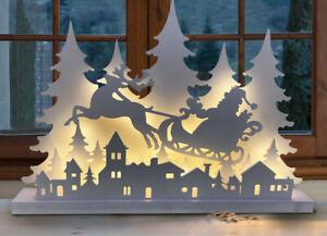 Villaggio In Legno Babbo Natale Su Slitta Decorazione Natale Luci Bianco Caldo