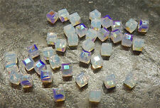 12 Swarovski 6mm Cubes #5601 - WHITE OPAL AB - Loose BEADS , Bridal/Wedding