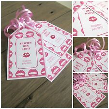 5 X HEN DO HEN PARTY PERSONALISED CRYSTAL GIFT TAGS & RIBBON PINK LIPS DESIGN