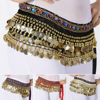 Stylish Belly Dance Waist Chain Hip Scarf Gold Coins Band Gemstone Belt Costume