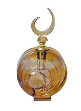 Liuli Glass Golden Yellow Brown Round Shape Moon Cover Perfume Bottle n299