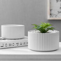 MyGift Set of 2 Large and Small Glazed White Vertical Ribbed Ceramic Planters