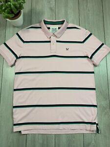 CREW CLOTHING Mens Striped Polo Shirt Top   2XL   Pink