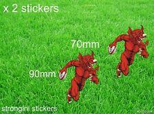 Gales Rugby X 2 Dragón Pegatina Contorno de corte Galés Rugby Calcomanía Coches Furgonetas Etc