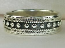 Men's Sterling Silver .925 Black & Silver Band Beaded Rope Ring -Size 11.5
